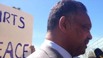 Jesse Jackson speaks press conf outside HP shareholder meeting 031914 by Damian Trujillo