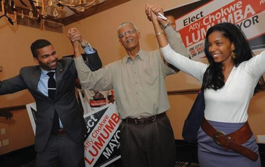 Chokwe Lumumba, son Chokwe Antar, daughter Rukia celebrate primary victory 052113 by Vickie D. King, Jackson Clarion-Led