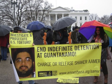 Shaker Aamer banner White House protest Guantanamo 10th anniversary 011112 by Andy Worthington