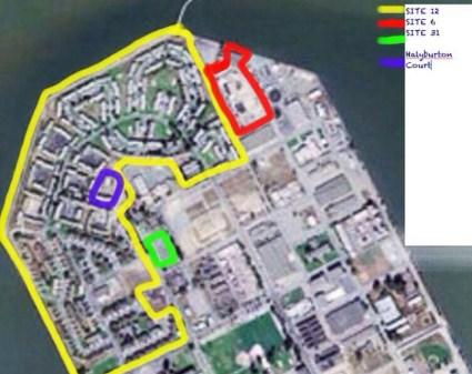 Treasure Island map color coded Sites 12, 6, 31, Halyburton Court