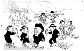 An anti-union cartoon published in The American Employer depicts labor union infighting in 1912. The race issue was involved in many of the disputes.