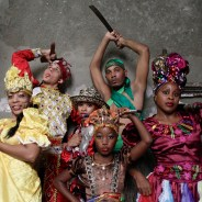 Jennyselt Galata is a dancer of Afro Cuban Folklore, with great prestige within Cuba and internationally. Here she is (furthest right) with her group Osain del Monte. She invites her mentee Sailen (young girl in front) to perform with her group for the first time and remind her that dreams do come true. – Photo: Eli Jacobs-Fantauzzi
