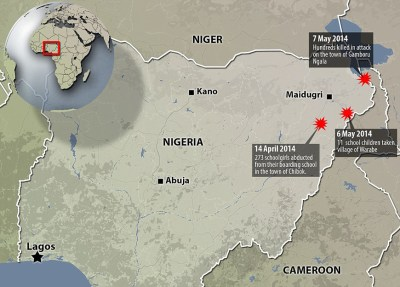 Nigeria map Boko Haram girls abduction 0514