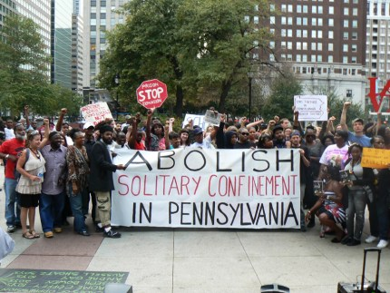 Human Rights Coalition rally at Penn. legislative hearing on solitary confinement 091812, web