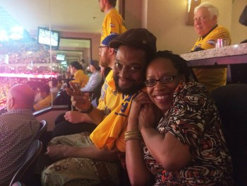 Sometimes love trumps basketball – at least for a minute. Kevin, a big sports fan, was up to attending the Warriors game in Oakland May 1 with his beloved Lateefah.