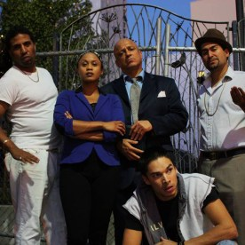 """The all-Black and Brown cast of """"Superheroes,"""" running Nov. 21-Dec. 21 at the Cutting Ball Theater, 277 Taylor in Frisco, will be looking for you! From left, they are Britney Frazier, Myers Clark, Delina Brooks, Donald Lacy, Juan Amador and, in front, Ricky Saenz. This play is a must-see for the Black and Brown communities and everyone who cares about justice."""