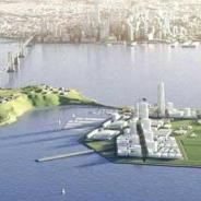 "In the rendering by Lennar, the City's ""private partner,"" new development on Treasure Island is located only on the part of Treasure Island that is relatively uncontaminated by the radiation and chemicals poisoning past and current residents. Development is also planned for Yerba Buena Island to the left, prompting plans to relocate those residents."