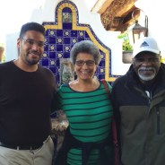 "Professors Darius Spearman and Roberta Alexander, a Black Panther Party veteran, welcome BPP co-founder and guest speaker Elbert ""Big Man"" Howard to San Diego. – Photo: Carole Hyams-Howard"
