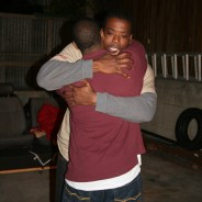 "Ogun (Deleon Dallas), facing us, hugs Oshoosi (Terrance White) in the Ubuntu Theater production of ""The Brothers Size."""
