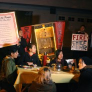 """Asians4Black Lives set an elegant table Asian style outside Mayor Ed Lee's home at 6 a.m. Sunday morning, Jan. 17, during the Martin Luther King weekend and asked the mayor to come out, sit down with them and pledge to meet the demands they listed in their """"Serve the People Menu,"""" which reads: """"1. Terminate Chief Suhr. 2. Terminate the officers involved in the murders of Mario Woods, Amilcar Lopez and Alex Nieto. 3. Reallocate city budgets to affordable housing for Black and Brown people."""" – Photo: Asians4BlackLives"""