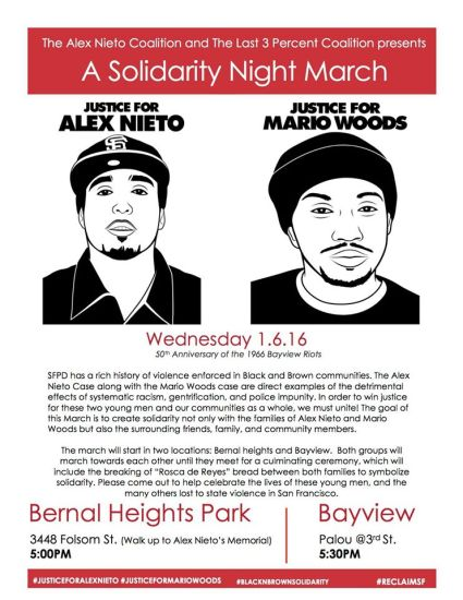 Solidarity Night March- Alex Nieto, Mario Woods flier 010616