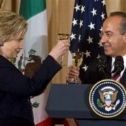 "Secretary of State Hillary Clinton and Mexican President Felipe Calderon toast during a luncheon in his honor at the State Department in Washington, Wednesday, May 19, 2010. The next day they traded barbs when Calderon criticized a new Arizona law requiring racial profiling. Clinton responded, ""You should take the log from your own eye before criticizing the speck in your neighbor's."" – Photo: Cliff Owen, AP"