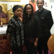 Leaders of the Coltrane Church Rev. Deacon Marlee-I Mystic, Archpriest and Pastor Wanika King Stephens and church founder Archbishop Franzo W. King stand at the altar in the sanctuary they must vacate by the end of April.