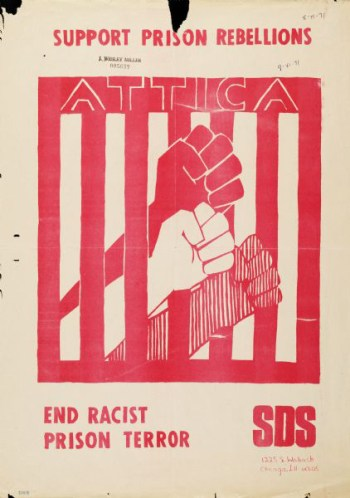 Poster created by the Students for a Democratic Society (SDS) in support of the 1971 Attica Prisoner Rebellion