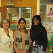 Children's Waiting Room staff gather at the Hall of Justice – from left, Maire Larkin, Dinky Manek Enty and Denise Bradford.
