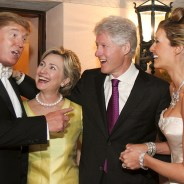 "People Magazine ran this photo in March and commented: ""Back in 2005, Bill and Hillary Clinton were VIP guests at Donald Trump's wedding to his wife Melania – and it sure looks like all four had a pretty good time. … The billionaire businessman has, over the years, given at least $100,000 to the Bill, Hillary and Chelsea Clinton Foundation and made multiple cash donations to Hillary Clinton's various political campaigns before this one."" – Photo: Maring Photography"