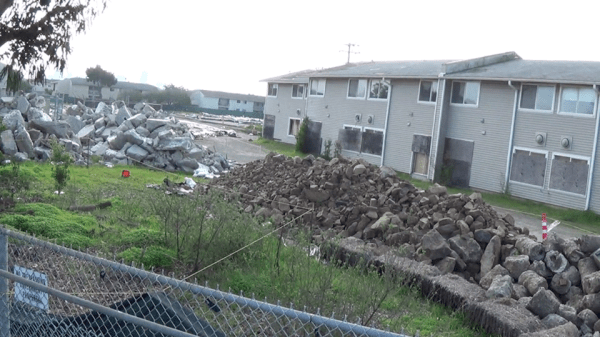 This is the highly toxic and radioactive Halyburton Court, with Bigelow Court in the background. – Photo: Carol Harvey