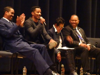 "Minister Christopher Muhammad, Nate Parker, Elaine Brown and Bernard McCune were panelists at the screening of ""Birth of a Nation"" at McClymonds High School on Nov. 10. – Photo: Wanda Sabir"