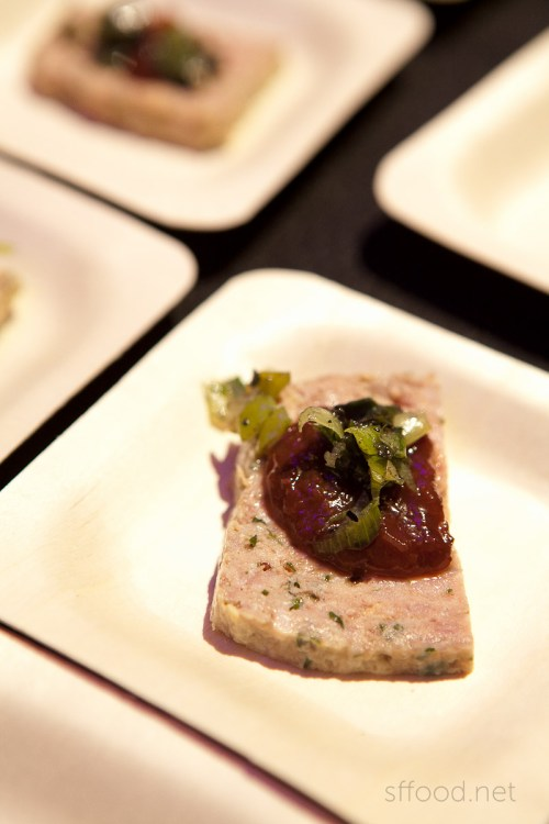 pâté  with cherry ketchup and charred scallions