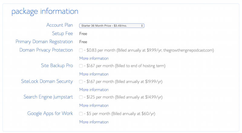 Bluehost Signup Options Screenshot by Gray MacKenzie