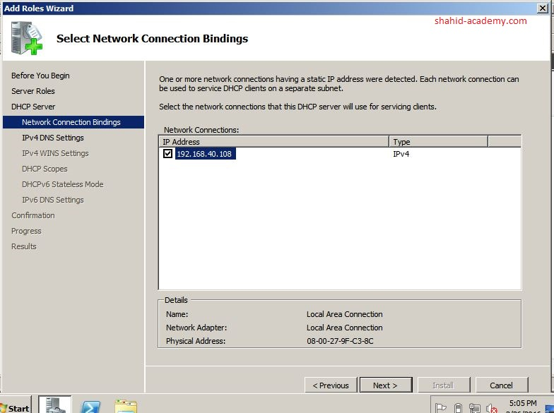 Network Connection Bind IPV4