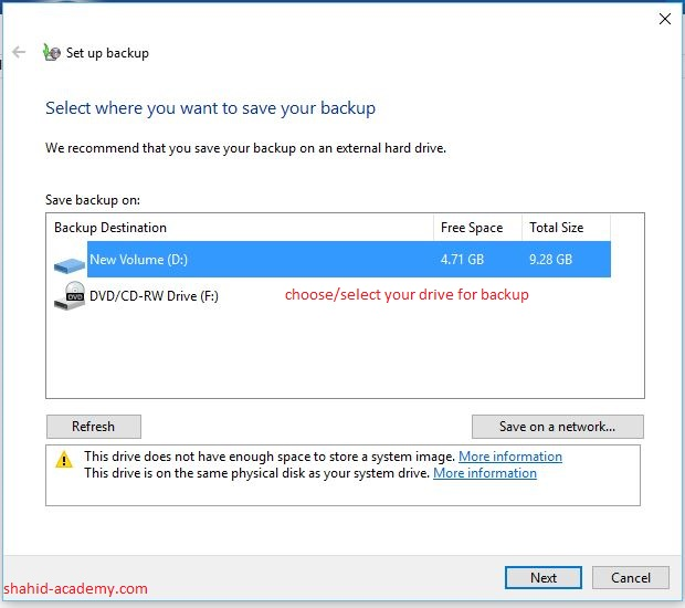 select drive for backup 3