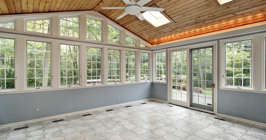 Sunroom with wall of windows