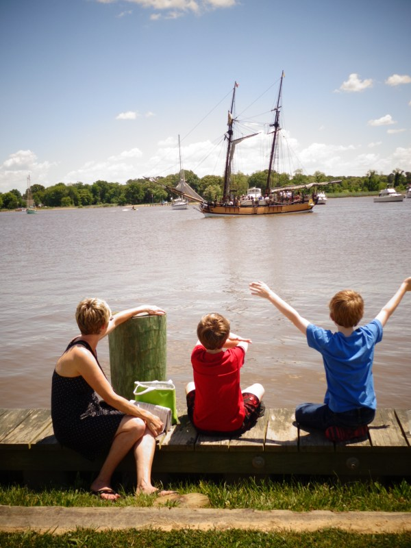 Waving at the Sultana on the Chester River in #Chestertown,MD from Shalavee.com