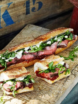 gourmet rare roast beef sandwiches
