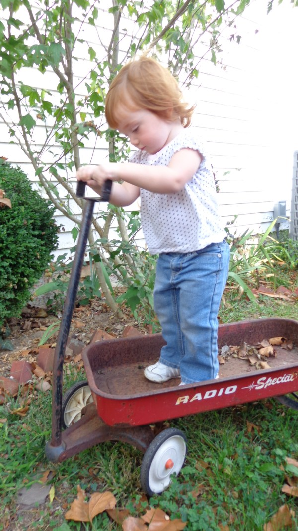 Fiona in the rusty radio flyer on Shalavee.com