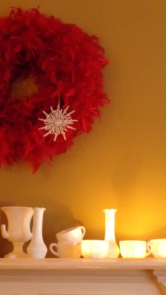 Christmas 2014 mantle with milk glass on Shalavee.com