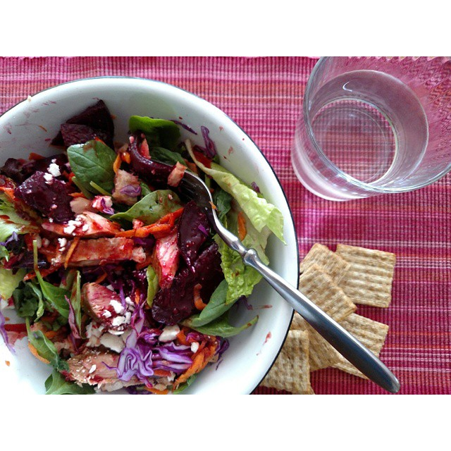 Roast beets on salad with salmon on Shalavee.com