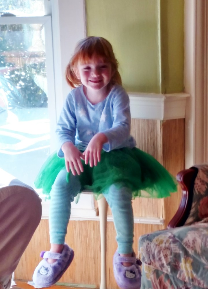 Fiona Marie Peaach in her jammies and green tutu on Shalavee.com