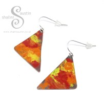 Enamelled Copper Earrings 'Marigold'