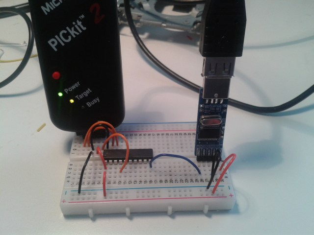 PICkit 2, pl2303 usb to serial converter and a PIC 18F14k50