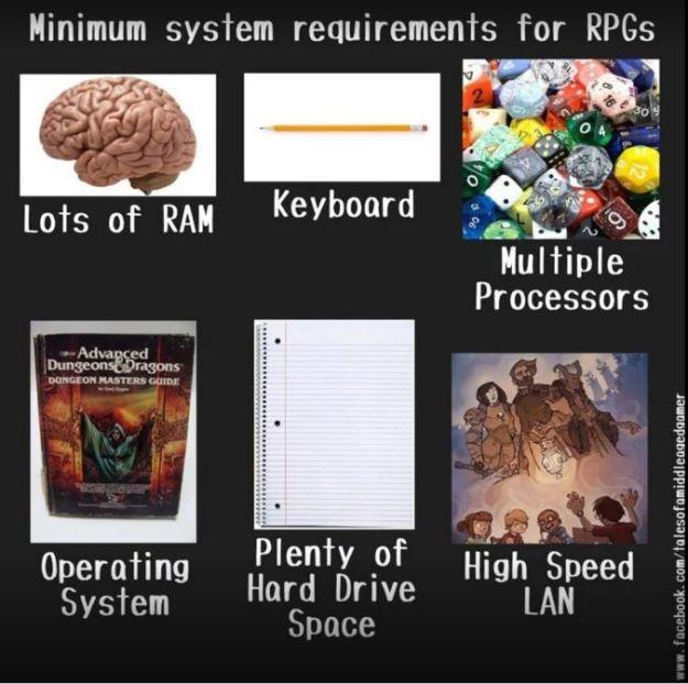 d&d meme rpg minimum system requirements