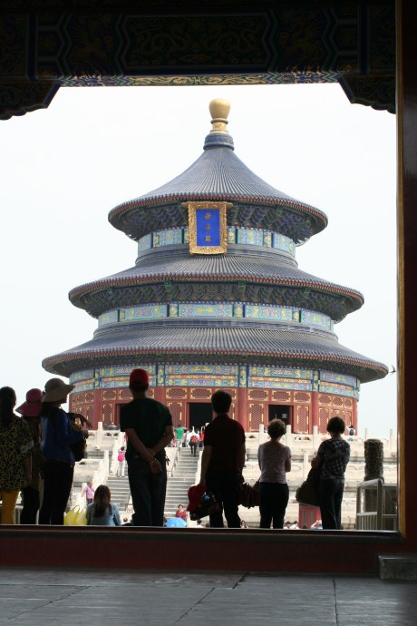 Most of the pictures I saw of the Temple are from the other side of a wall that cuts it in two.  I had to lay down on the stairs to get this angle, but I love this picture of the Temple of Heaven.