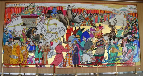 Large mural in the last stop in Xi'an - a cultural center with lots of historical detail and information, including monitors the kids could use to take pictures of themselves and work into period-themed pieces...