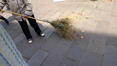 As modern a city as Shanghai is, brooms seemed to be stuck in the Tang dynasty.  Bamboo brooms were everywhere. I guess I shouldn't tease, because the city was very clean.  It was explained to me that the reason they use this style of broom is to keep the dust down - the idea isn't so much to get things perfectly clean as it is to move leaves, rocks, and other things while not kicking up lots of dust.  There's enough stuff in the air without adding a bunch of dust...