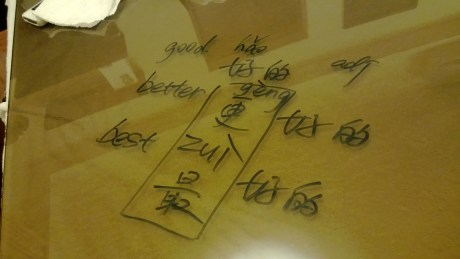 A couple of my Mandarin lessons were done at my apartment...  I had a glass top coffee table and I put a towel underneath which turned it into a whiteboard...