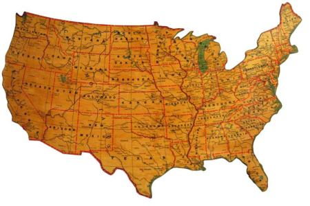 vintage united states schoolroom map mounted on board at