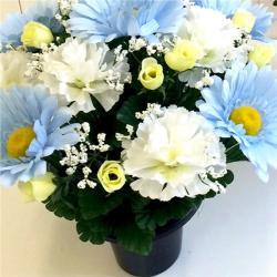 Pastel Pale Blue Artificial Flower Arrangement Babys Grave Pot