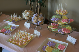 Baby Blessing Dessert Bar ~ Red Velvet Cream Cheese Cake Pops, Designer Flower Sugar Cookies and Vanilla Dipped Rice Krispies