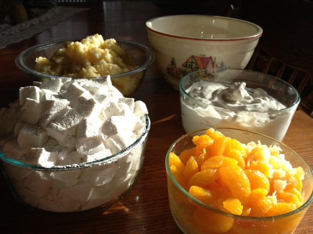 Stir into rice mixture- marshmallows, Truwhip and fruit