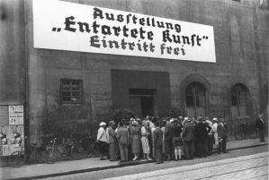 Germans lining up to see the Degenerate Art show c. 1937