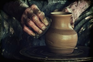 Elderly pottery hands
