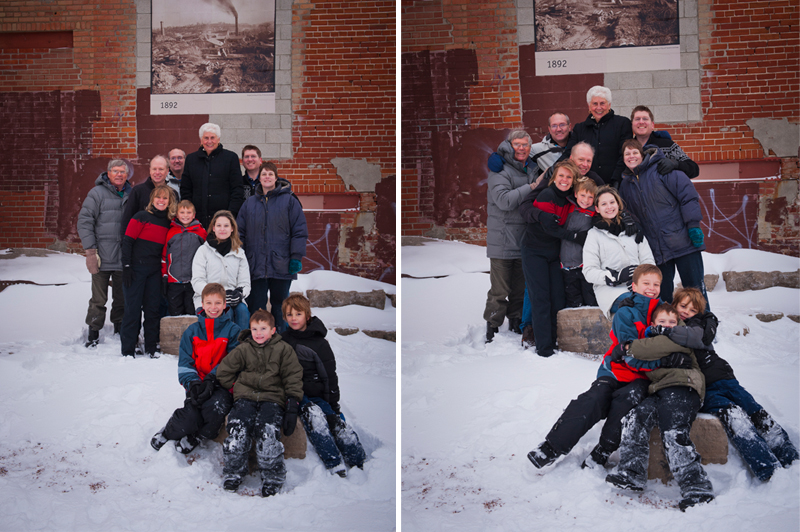 Family photo shoot in the snow. Christmas portrait. Toronto family photographer portrait photographer