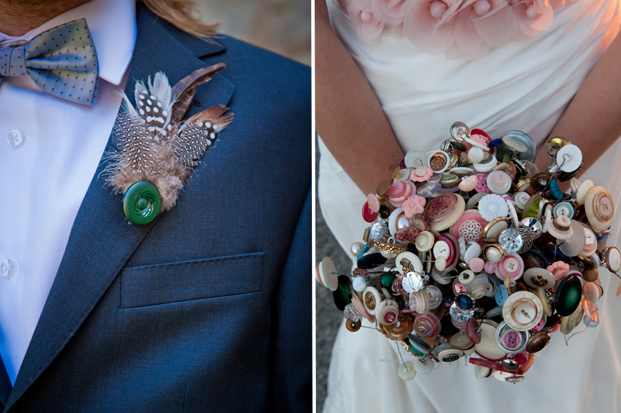 DIY Wedding Details - Button Bouquet and Feather Boutonniere - Toronto Wedding Photographer