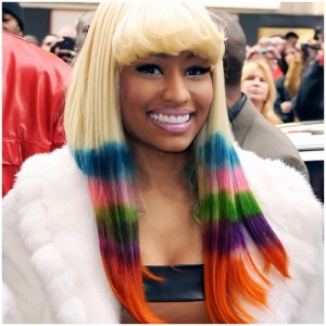 Nicki Minaj's colourful rainbow hair