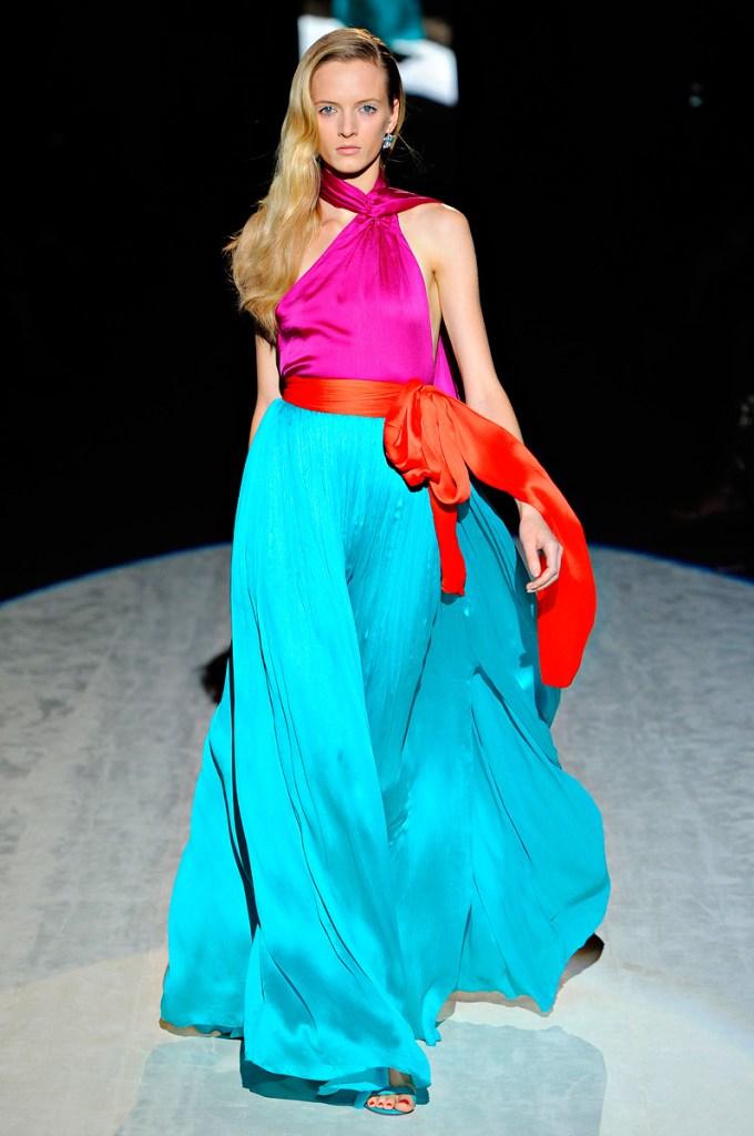 ferragamo blue and pink dress